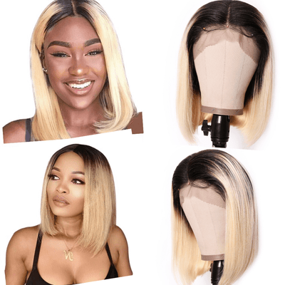 Klaiyi 9A Ombre T1b/613 Lace Front Bob Wigs Brazilian Straight Hair 613 Dark Roots Lace Wigs High Density Blunt Cut Human Hair Wigs