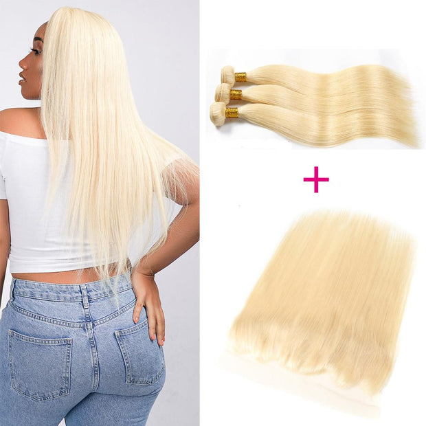 613 Blonde Straight  Human Hair 3 Bundles with 13*4 Lace Frontal Closure