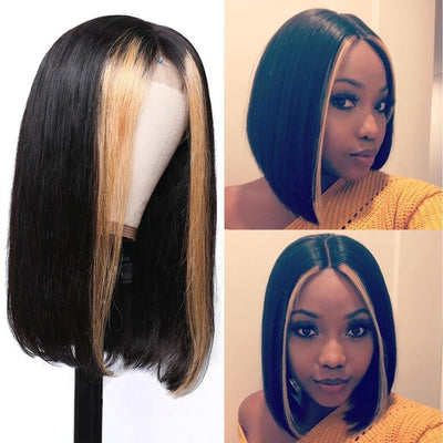 Klaiyi Hair 9A Grade Brazilian Straight Bob Wig with Highlight 13×4 Short Human Hair Lace Front Wigs 150%/180% Density