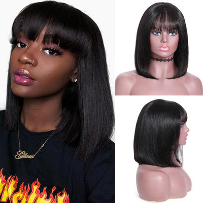 Klaiyi Hair 9A 150%/180% Silky Straight Bob Hair Wig with Bangs, 13*4 Lace Front Human Hair Wig