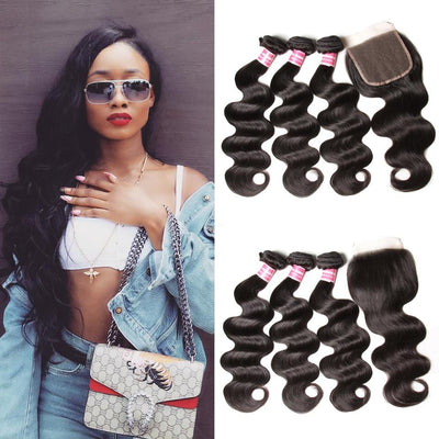 Klaiyi Malaysian Body Wave Free Part 4x4 Closure With 3 bundles Unprocessed Human Virgin Hair