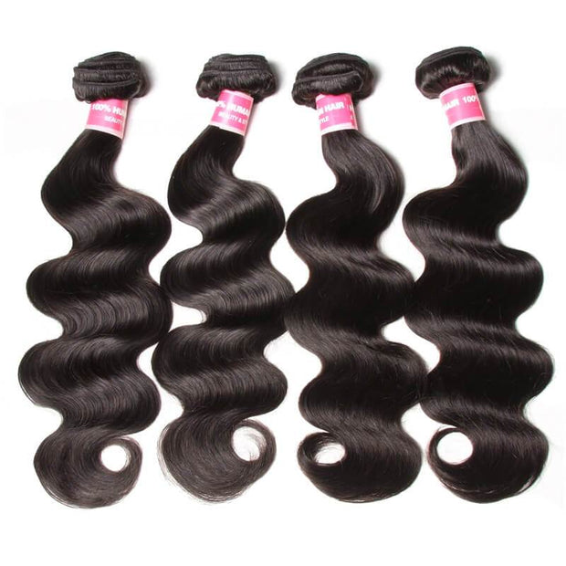7a Virgin Malaysian Body Wave 4 Bundles with 4*4 Lace Closure, No Shedding and Tangle Free-Klaiyi Hair