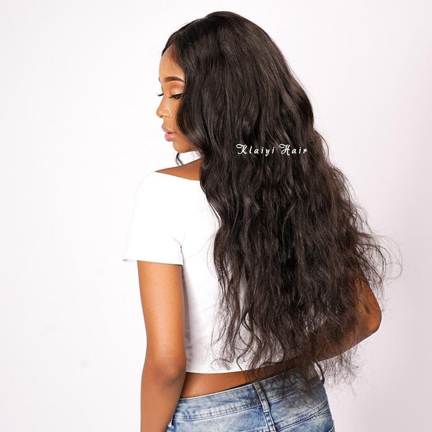 Klaiyi Hair Brazilian Virgin Hair Body Wave 3 Bundles With Transparent Lace Frontal Closure