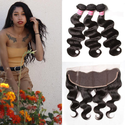 Klaiyi Malaysian Body Wave 3 Bundles with Ear To Ear Lace Frontal Closure, 100% Virgin Human Hair Weave Bundles