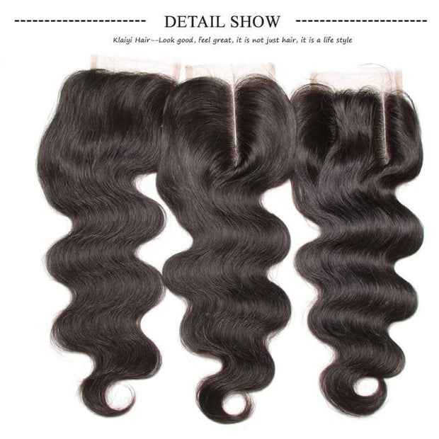 Klaiyi Brazilian Hair Body Wave Virgin Human Hair 3Bundles with 1pc Lace Closure
