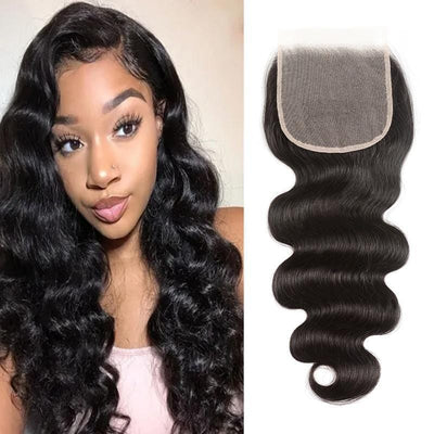 Klaiyi 4 by 4 Tint Swiss Lace Body Wave Swiss Lace Closure