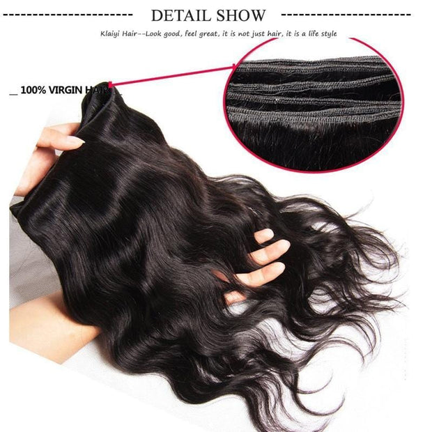 Klaiyi Brazilian Body Wave Virgin Hair 4 Bundles with Frontal Closure Natural Color