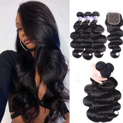 Klaiyi Remy Hair Brazilian Body Wave 3 Bundles with 4*4 Lace Closure On Sale Youth Series
