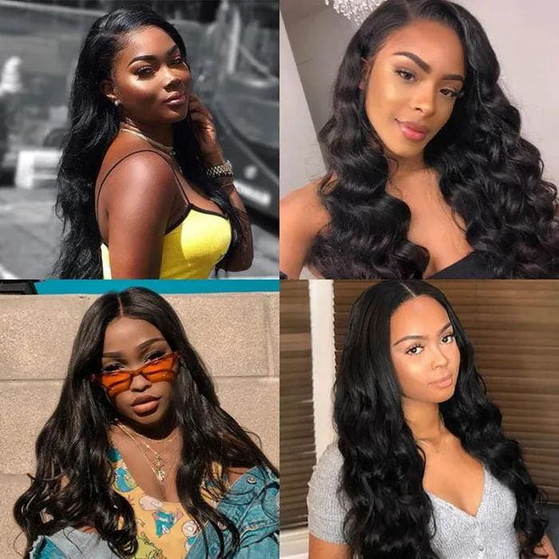 Klaiyi Flash Deal 100% High Quality Virgin Human Hair Body Wave Wigs Lace Part Wig Natural Black Hair Wigs