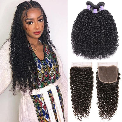 Klaiyi Youth Series Brazilian 100% Human Hair Curly Hair 3 Bundles with 4*4 Lace Closure