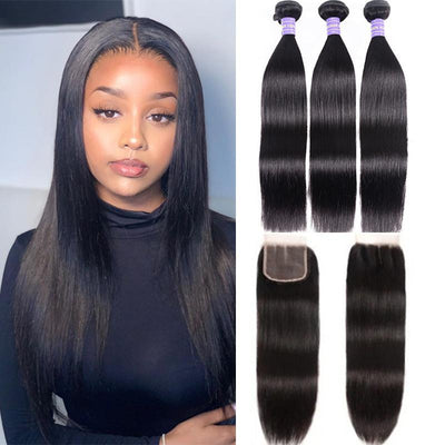 Klaiyi Youth Series Brazilian 100% Human Hair Straight Hair 3 Bundles with 4*4 Lace Closure