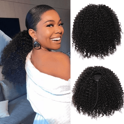 Klaiyi Hair Kinky Curly Drawstring Ponytail Clip In Hair Extensions Brazilian Virgin Hair Afro Puff