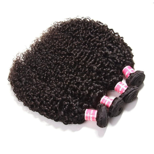 Indian Virgin Curly Hair 4 Bundles with 4*4 Lace Closure-Klaiyi Hair