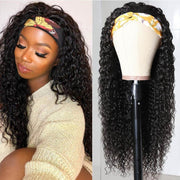 Klaiyi Headband Wig Curly Human Hair Wig With Free Scarf Natural Color Wig For Black Women