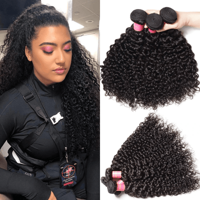 Klaiyi 3 Bundles Jerry Curly Virgin Human Hair Weave Sew In Extensions Natural Color For Sale