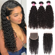 Klaiyi Hair Brazilian Curly Hair 3 Bundles with 5*5 Closure Cuticle Aligned Curly Weave with Free Part Closure