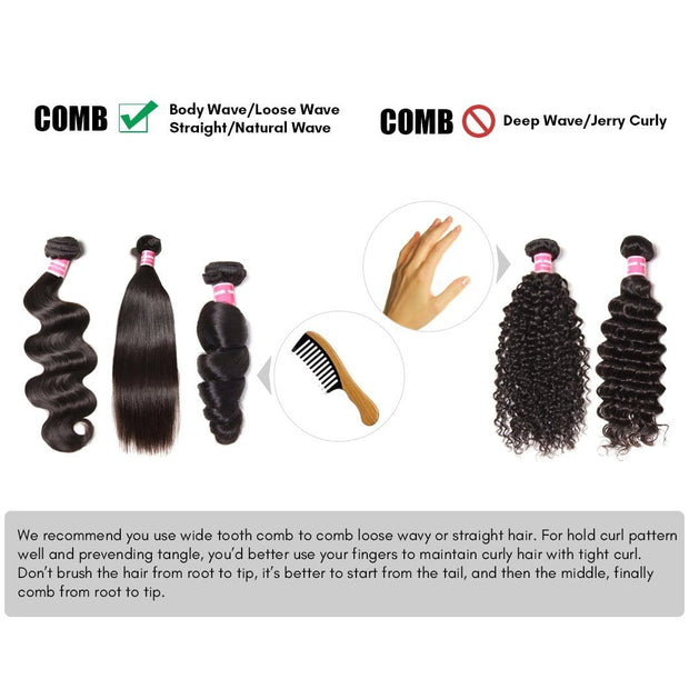 Klaiyi Hair Brazilian Curly Hair 3 Bundles with 5*5 Closure- Cuticle Aligned Curly Weave with Free Part Closure