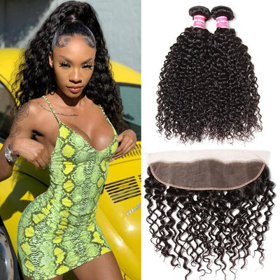 Klaiyi Hair 2 Bundles with Frontal Closure Brazilian Hair Ponytail Weave with Lace Front Closure Free Part
