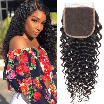 Klaiyi Brazilian Virgin Hair Curly Hair 4x4 Lace Closure