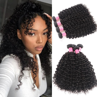 Klaiyi 4pcs/pack Brazilian Jerry Curly Virgin Hair Weaves