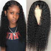 Klaiyi 9A 13*4 Lace Front Jerry Curly Human Hair Wig 12inch-24inch, 100% Virgin Human Hair
