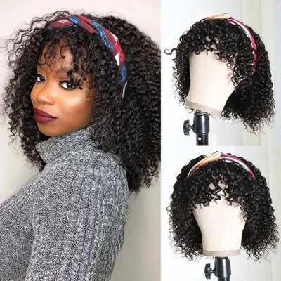 Klaiyi Hair Curly Headband Wig with Bangs Free Beginner Friendly Human Hair Wigs With Various Kinds Of Hairstyles
