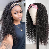 Klaiyi Youth Series Best Long Curly Hair Headband Wigs Human Hair Glueless Wigs Natural Black