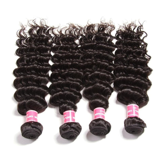 Peruvian Deep Wave 4 Bundles with 13*4 Lace Frontal Closure