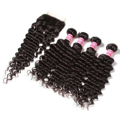 4 Bundles Brazilian Deep Wave Hair with 4*4 Lace Closure