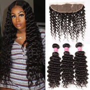 Indian Deep Wave 3 Bundles with 13*4 Ear to Ear Lace Frontal Closure Deals-Klaiyi Hair