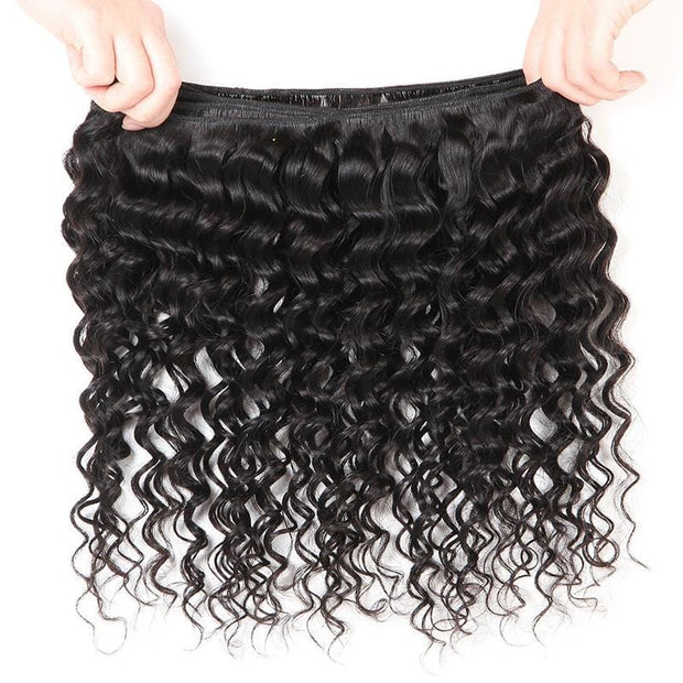 Peruvian Deep Wave 4 Bundles with Lace Closure, 4*4 Free Part, 100% Virgin Human Hair, 7A Grade