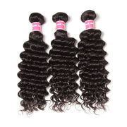 Peruvian Virgin Deep Wave Curly Hair 3 Bundles with Ear to Ear 13*4 Lace Frontal Closure Deals-Klaiyi Hair