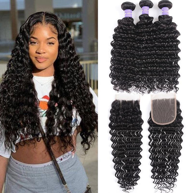 Klaiyi Youth Series Brazilian Deep Wave 3 Bundles With Closure 100% Human Hair