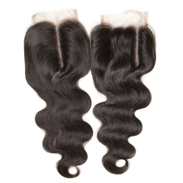 Klaiyi malaysian Body Wave Virgin Human Hair Lace CLosure Natural Color