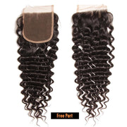 Klaiyi Hair Brazilian Virgin Hair Deep Wave 4*4 Lace Closure Free Part Middle Part 100% Human Hair Closure