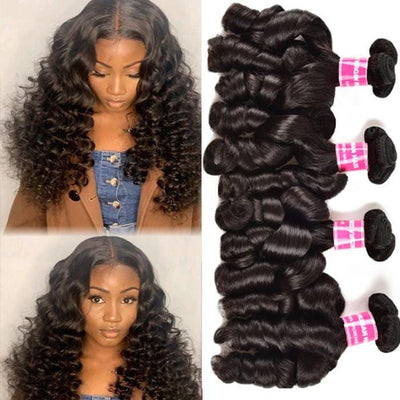 Funmi Curly 4 Bundles Virgin Human Hair Weave Loose Curly Hair