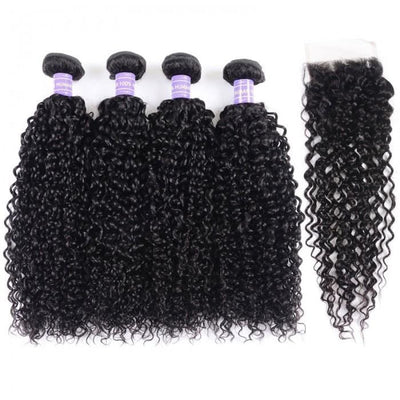 Klaiyi Youth Series Brazilian 4 Bundles Curly Hair Weaves With Closure