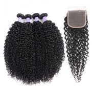 Klaiyi Remy Hair Brazilian 4 Bundles Curly Hair Weaves With Closure Youth Series