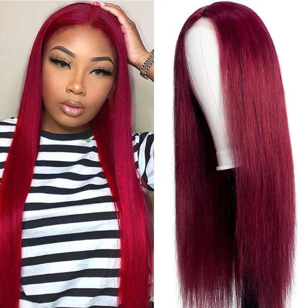 Klaiyi Burgundy Color Straight Hair Lace Part Wig Fake Scalp Wig 150% Density For Sale