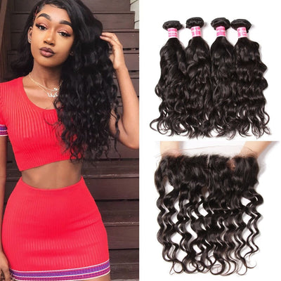 Klaiy Indian Natural Wave 4 Bundles with 13*4 Ear to Ear Lace Frontal Closure Deals