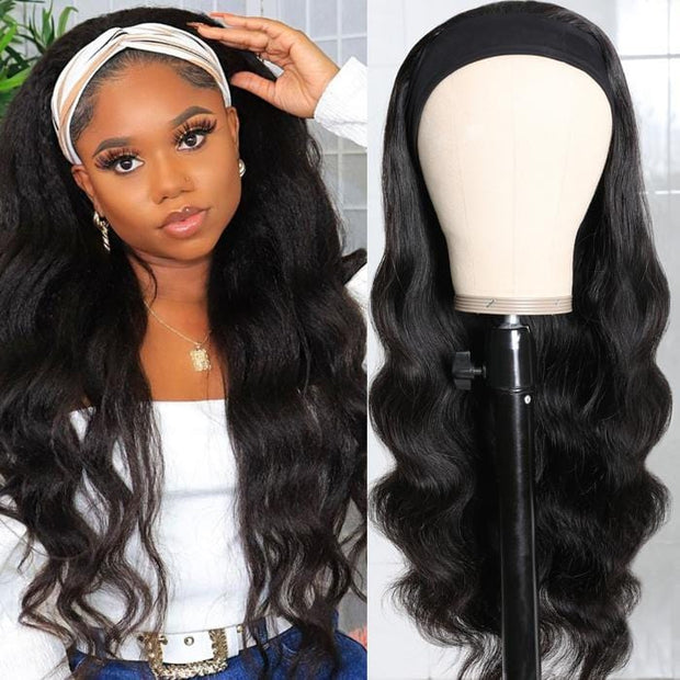 Flash Sale For No Glue & No Sew In Headband Wig 150% Density Straight/ Body Wave Scarf Wigs