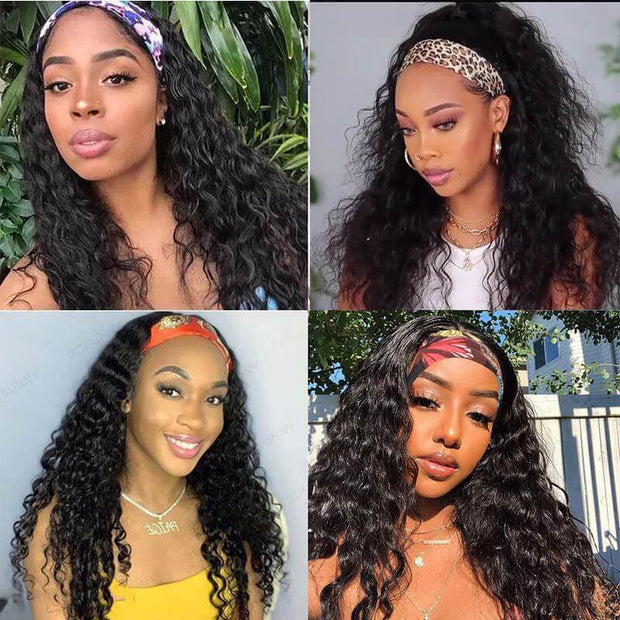 Klaiyi Remy Hair Water Wave Headband Wig With Pre-attached Scarf 150% Density Human Hair Wigs Youth Series