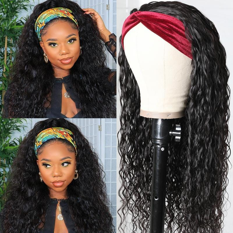 Klaiyi Headband Water Wave Wig With Pre-attached Scarf 200% Density Human Hair Wigs