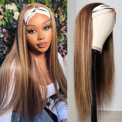 Klaiyi Hair Headband Wig Straight Hair Blonde Highlight Piano Color Glueless Human Hair Wigs With Pre-attached Scarf