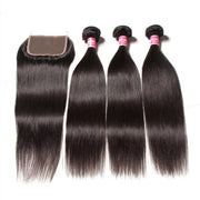 Indian Straight Hair 3 Pcs with 4*4 Lace Closure Deals