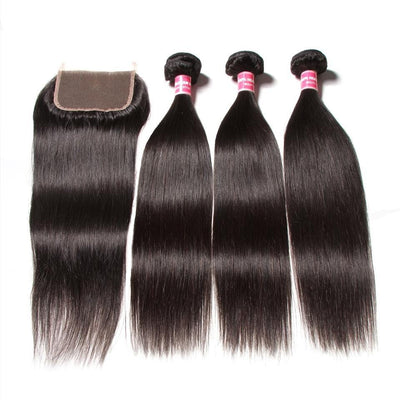 Klaiyi Indian Straight Hair 3 Pcs with 4*4 Lace Closure Deals