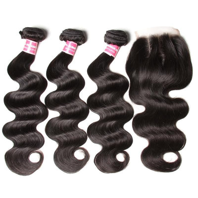 Klaiyi Indian Body Wave 3 Bundles with 4*4 Lace Closure
