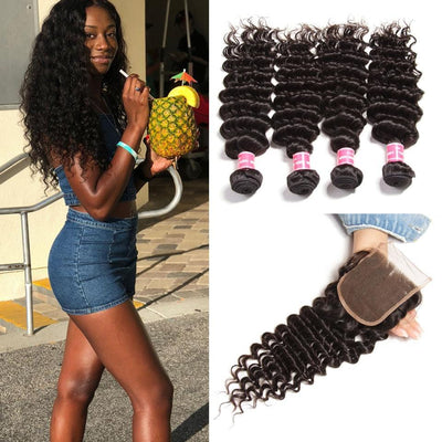 8A Grade Indian Deep Wave 4 Bundles with 4*4 Lace Closure Deals-Klaiyi Hair