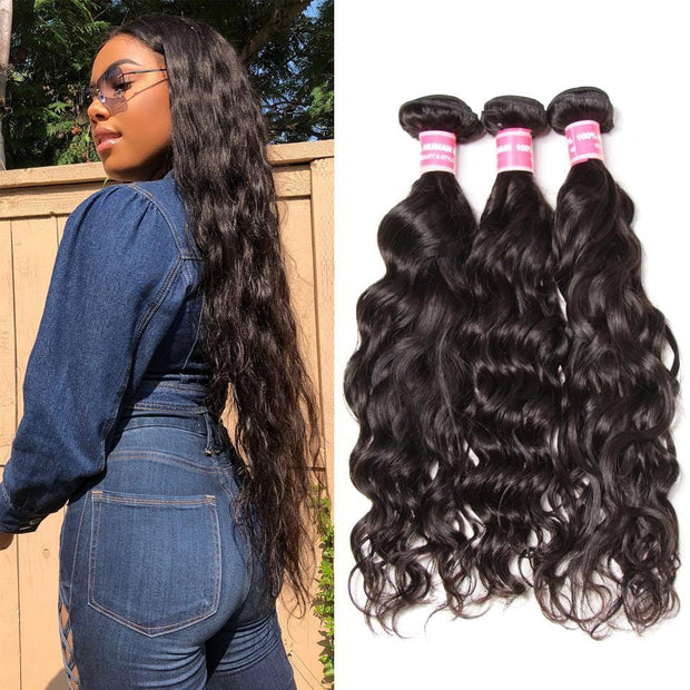 Klaiyi Indian Natural Wave Virgin Human Hair Weave Extensions 3pcs/Pack