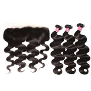 Klaiyi Indian Body Wave 3 Bundles with Ear To Ear Lace Frontal Closure